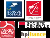 Image of La Banque Postale, Caisse d'Epargne Ile-de-France, Arkea Banque Entreprises et Institutionnels, Bpifrance, Société Générale Company Logo